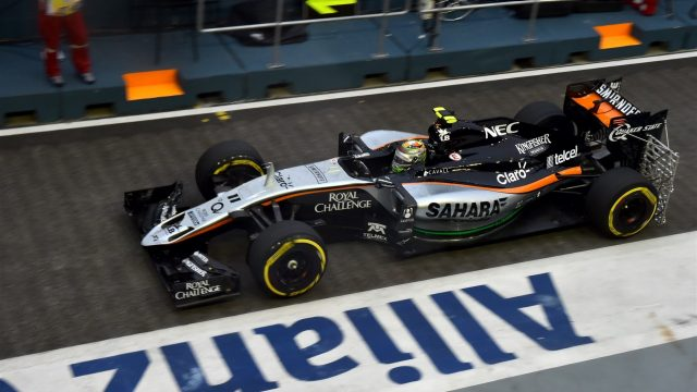 Sergio Perez (MEX) Force India VJM08 at Formula One World Championship, Rd13, Singapore Grand Prix, Practice, Marina Bay Street Circuit, Singapore, Friday 18 September 2015. &copy&#x3b; Sutton Motorsport Images