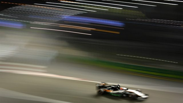 Nico Hulkenberg (GER) Force India VJM08 at Formula One World Championship, Rd13, Singapore Grand Prix, Practice, Marina Bay Street Circuit, Singapore, Friday 18 September 2015. &copy&#x3b; Sutton Motorsport Images