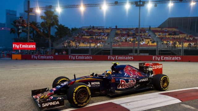 Carlos Sainz (ESP) Scuderia Toro Rosso STR10 at Formula One World Championship, Rd13, Singapore Grand Prix, Practice, Marina Bay Street Circuit, Singapore, Friday 18 September 2015. &copy&#x3b; Sutton Motorsport Images