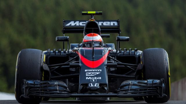 Jenson Button (GBR) McLaren MP4-30 at Formula One World Championship, Rd11, Belgian Grand Prix, Practice, Spa Francorchamps, Belgium, Friday 21 August 2015. &copy&#x3b; Sutton Motorsport Images