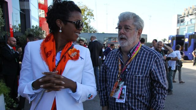 George Lucas (USA) with his partner Mellody Hobson (USA) at Formula One World Championship, Rd12, Italian Grand Prix, Race, Monza, Italy, Sunday 6  September 2015. &copy&#x3b; Sutton Motorsport Images