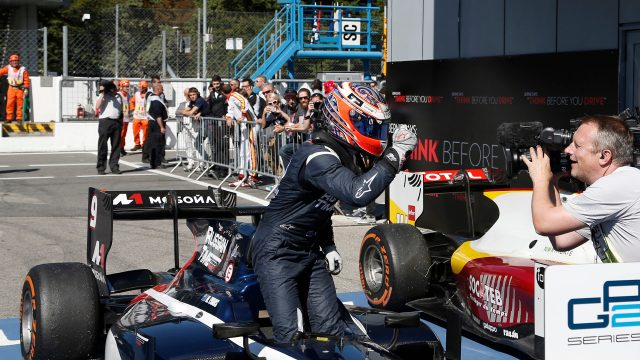Race winner Mitch Evans (NZL) Russian Time celebrates in parc ferme at GP2 Series, Rd8, Italy, Monza, 4-6 September 2015. &copy&#x3b; Sutton Motorsport Images
