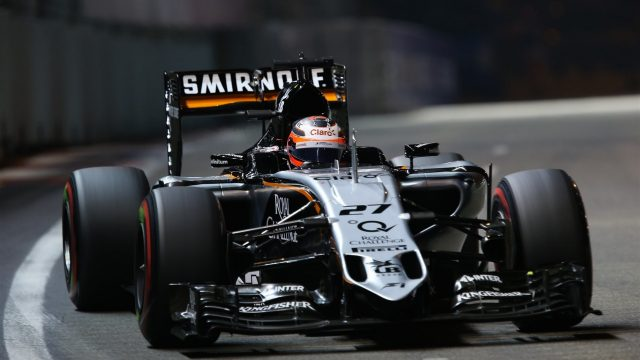 Nico Hulkenberg (GER) Force India VJM08 at Formula One World Championship, Rd13, Singapore Grand Prix, Qualifying, Marina Bay Street Circuit, Singapore, Saturday 19  September 2015. &copy&#x3b; Sutton Motorsport Images