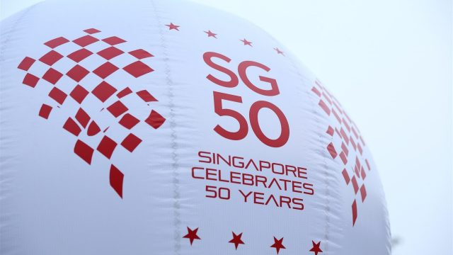 Singapore 50 Celebrates 50 Years Signage at Formula One World Championship, Rd13, Singapore Grand Prix, Preparations, Marina Bay Street Circuit, Singapore, Sunday 13 September 2015. &copy&#x3b; Sutton Motorsport Images