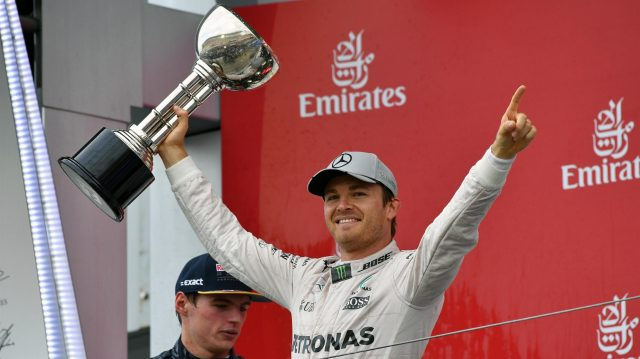 Race winner Nico Rosberg (GER) Mercedes AMG F1 celebrates on the podium with the trophy at Formula One World Championship, Rd17, Japanese Grand Prix, Race, Suzuka, Japan, Sunday 9 October 2016. &copy&#x3b; Sutton Images