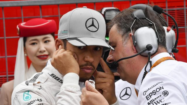 Lewis Hamilton (GBR) Mercedes AMG F1 and Ron Meadows (GBR) Mercedes AMG F1 Team Manager on the grid at Formula One World Championship, Rd17, Japanese Grand Prix, Race, Suzuka, Japan, Sunday 9 October 2016. &copy&#x3b; Sutton Images