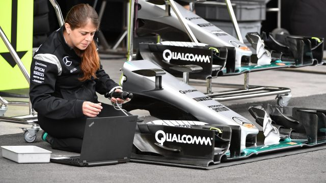 Mercedes AMG F1 mechanic works on Mercedes-Benz F1 W07 Hybrid nose and front wing at Formula One World Championship, Rd19, Mexican Grand Prix, Preparations, Circuit Hermanos Rodriguez, Mexico City, Mexico, Thursday 27 October 2016. &copy&#x3b; Sutton Images