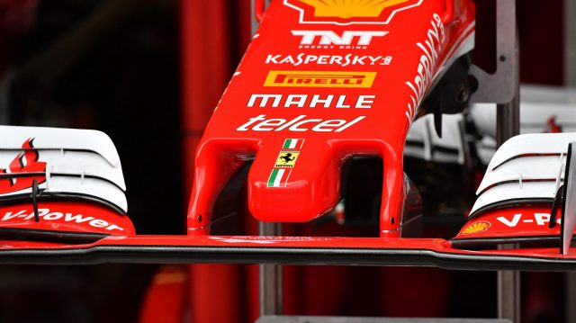 Ferrari nose detail at Formula One World Championship, Rd19, Mexican Grand Prix, Preparations, Circuit Hermanos Rodriguez, Mexico City, Mexico, Thursday 27 October 2016. &copy&#x3b; Sutton Images