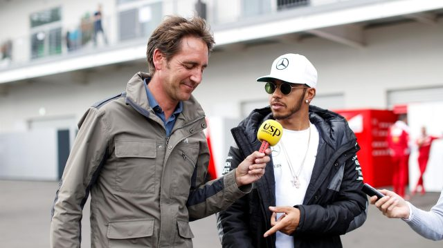 Lewis Hamilton (GBR) Mercedes AMG F1 talks with Tom Clarkson (GBR) BBC Television at Formula One World Championship, Rd19, Mexican Grand Prix, Preparations, Circuit Hermanos Rodriguez, Mexico City, Mexico, Thursday 27 October 2016. &copy&#x3b; Sutton Images