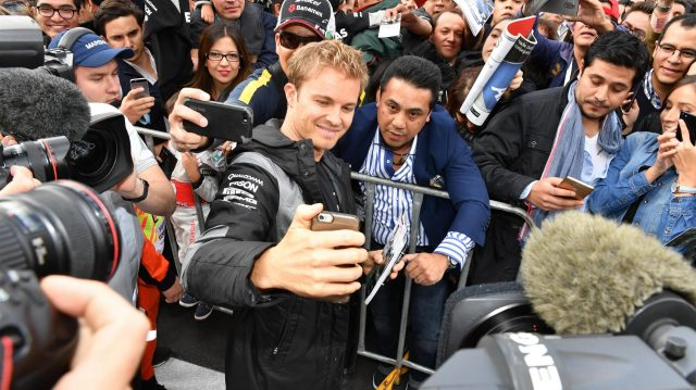 Nico Rosberg (GER) Mercedes AMG F1 fans selfie at Formula One World Championship, Rd19, Mexican Grand Prix, Preparations, Circuit Hermanos Rodriguez, Mexico City, Mexico, Thursday 27 October 2016. &copy&#x3b; Sutton Images