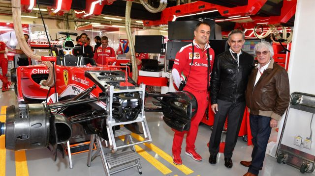 Miguel Angel Mancera (MEX) Mexico City Mayor with Diego Ioverno (ITA) Ferrari Operations Director and Bernie Ecclestone (GBR) CEO Formula One Group (FOM) in the Ferrari garage at Formula One World Championship, Rd19, Mexican Grand Prix, Preparations, Circuit Hermanos Rodriguez, Mexico City, Mexico, Thursday 27 October 2016. &copy&#x3b; Sutton Images