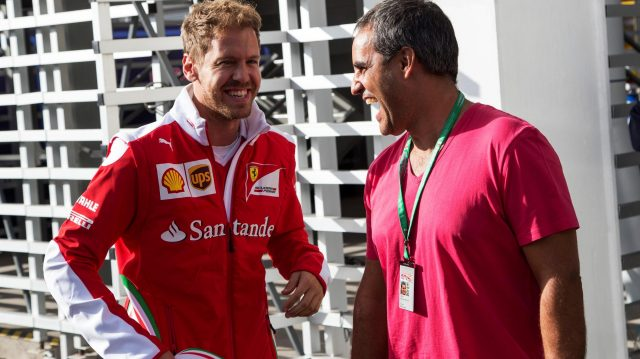 Sebastian Vettel (GER) Ferrari and Juan Pablo Montoya (COL) at Formula One World Championship, Rd19, Mexican Grand Prix, Preparations, Circuit Hermanos Rodriguez, Mexico City, Mexico, Thursday 27 October 2016. &copy&#x3b; Sutton Images