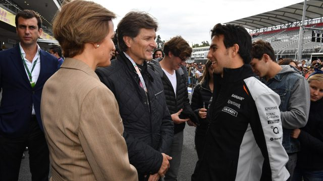 Sergio Perez (MEX) Force India with Enrique de la Madrid Cordero (MEX) the Mexican Secretary of Tourism at Formula One World Championship, Rd19, Mexican Grand Prix, Preparations, Circuit Hermanos Rodriguez, Mexico City, Mexico, Thursday 27 October 2016. &copy&#x3b; Sutton Images