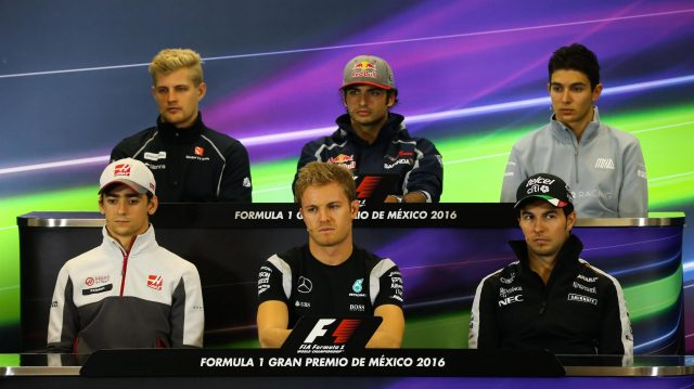 (L to R): Marcus Ericsson (SWE) Sauber, Carlos Sainz jr (ESP) Scuderia Toro Rosso, Esteban Ocon (FRA) Manor Racing, Esteban Gutierrez (MEX) Haas F1, Nico Rosberg (GER) Mercedes AMG F1 and Sergio Perez (MEX) Force India in the Press Conference at Formula One World Championship, Rd19, Mexican Grand Prix, Preparations, Circuit Hermanos Rodriguez, Mexico City, Mexico, Thursday 27 October 2016. &copy&#x3b; Sutton Images