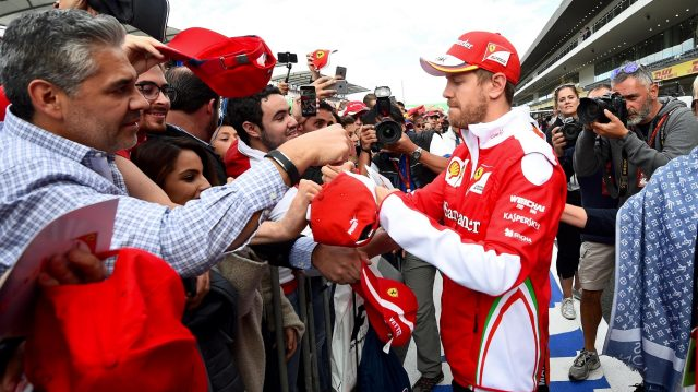 Sebastian Vettel (GER) Ferrari signs autographs for the fans at Formula One World Championship, Rd19, Mexican Grand Prix, Preparations, Circuit Hermanos Rodriguez, Mexico City, Mexico, Thursday 27 October 2016. &copy&#x3b; Sutton Images