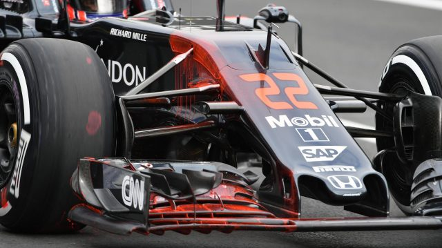 Jenson Button (GBR) McLaren MP4-31 with aero paint on front wing and nose at Formula One World Championship, Rd19, Mexican Grand Prix, Practice, Circuit Hermanos Rodriguez, Mexico City, Mexico, Friday 28 October 2016. &copy&#x3b; Sutton Images