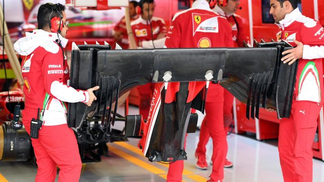 Ferrari mechanics with Ferrari SF16-H front wing at Formula One World Championship, Rd19, Mexican Grand Prix, Practice, Circuit Hermanos Rodriguez, Mexico City, Mexico, Friday 28 October 2016. &copy&#x3b; Sutton Images