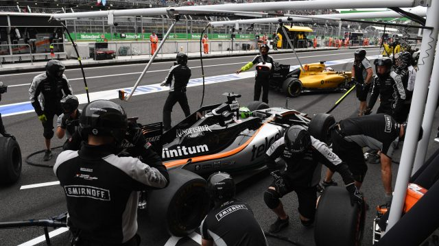 Nico Hulkenberg (GER) Force India VJM09 pit stop at Formula One World Championship, Rd19, Mexican Grand Prix, Practice, Circuit Hermanos Rodriguez, Mexico City, Mexico, Friday 28 October 2016. &copy&#x3b; Sutton Images