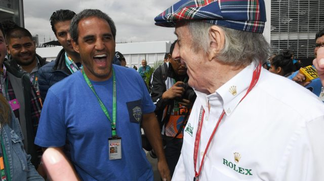 Juan Pablo Montoya (COL) and Jackie Stewart (GBR) at Formula One World Championship, Rd19, Mexican Grand Prix, Practice, Circuit Hermanos Rodriguez, Mexico City, Mexico, Friday 28 October 2016. &copy&#x3b; Sutton Images