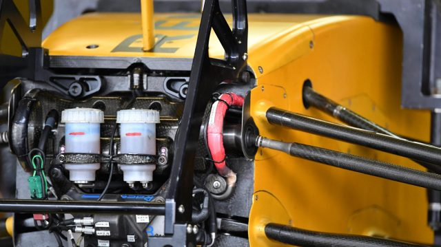 Renault Sport F1 Team RS16 chassis and front suspension detail at Formula One World Championship, Rd19, Mexican Grand Prix, Practice, Circuit Hermanos Rodriguez, Mexico City, Mexico, Friday 28 October 2016. &copy&#x3b; Sutton Images