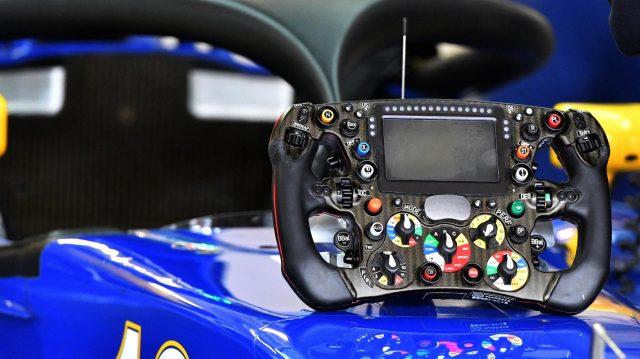 Sauber C35 steering wheel at Formula One World Championship, Rd19, Mexican Grand Prix, Practice, Circuit Hermanos Rodriguez, Mexico City, Mexico, Friday 28 October 2016. &copy&#x3b; Sutton Images
