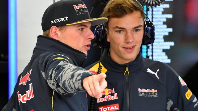 Max Verstappen (NED) Red Bull Racing and Pierre Gasly (FRA) Red Bull Racing at Formula One World Championship, Rd19, Mexican Grand Prix, Practice, Circuit Hermanos Rodriguez, Mexico City, Mexico, Friday 28 October 2016. &copy&#x3b; Sutton Images