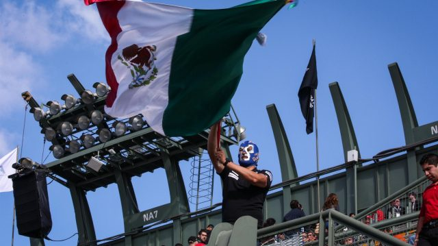 Fan with wrestling mask and mexican flag at Formula One World Championship, Rd19, Mexican Grand Prix, Qualifying, Circuit Hermanos Rodriguez, Mexico City, Mexico, Saturday 29 October 2016. &copy&#x3b; Sutton Images