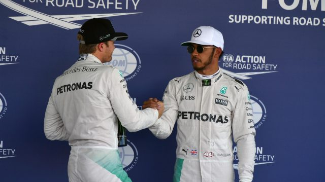Pole sitter Lewis Hamilton (GBR) Mercedes AMG F1 celebrates with Nico Rosberg (GER) Mercedes AMG F1 in parc ferme at Formula One World Championship, Rd19, Mexican Grand Prix, Qualifying, Circuit Hermanos Rodriguez, Mexico City, Mexico, Saturday 29 October 2016. &copy&#x3b; Sutton Images