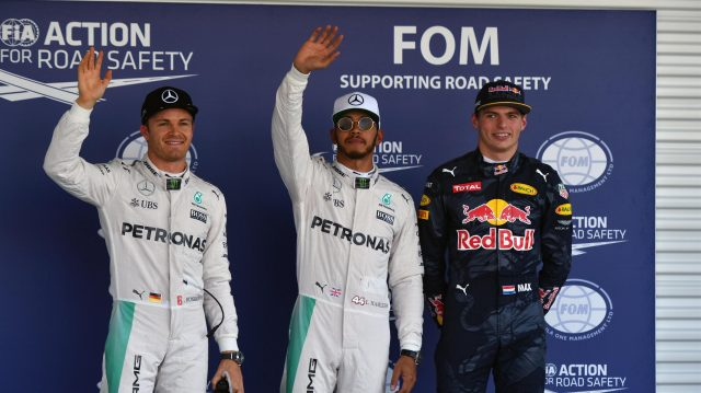 (L to R): Nico Rosberg (GER) Mercedes AMG F1, pole sitter Lewis Hamilton (GBR) Mercedes AMG F1 and Max Verstappen (NED) Red Bull Racing celebrate in parc ferme at Formula One World Championship, Rd19, Mexican Grand Prix, Qualifying, Circuit Hermanos Rodriguez, Mexico City, Mexico, Saturday 29 October 2016. &copy&#x3b; Sutton Images