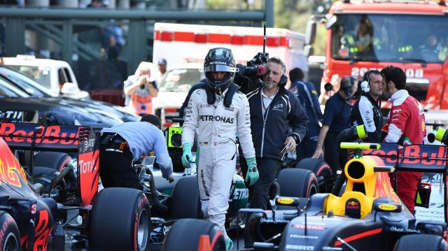 Nico Rosberg (GER) Mercedes AMG F1 celebrates in parc ferme at Formula One World Championship, Rd19, Mexican Grand Prix, Qualifying, Circuit Hermanos Rodriguez, Mexico City, Mexico, Saturday 29 October 2016. &copy&#x3b; Sutton Images