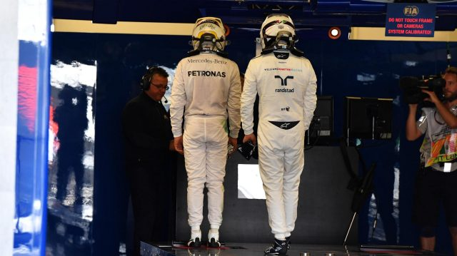Lewis Hamilton (GBR) Mercedes AMG F1 and Valtteri Bottas (FIN) Williams in parc ferme at Formula One World Championship, Rd19, Mexican Grand Prix, Qualifying, Circuit Hermanos Rodriguez, Mexico City, Mexico, Saturday 29 October 2016. &copy&#x3b; Sutton Images