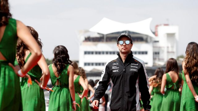 Sergio Perez (MEX) Force India on the drivers parade on the drivers parade at Formula One World Championship, Rd19, Mexican Grand Prix, Race, Circuit Hermanos Rodriguez, Mexico City, Mexico, Sunday 30 October 2016. &copy&#x3b; Sutton Images