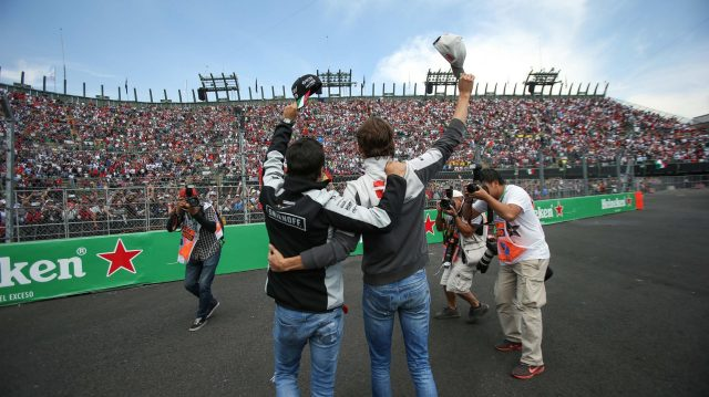 Sergio Perez (MEX) Force India and Esteban Gutierrez (MEX) Haas F1 wave to the fans on the drivers parade at Formula One World Championship, Rd19, Mexican Grand Prix, Race, Circuit Hermanos Rodriguez, Mexico City, Mexico, Sunday 30 October 2016. &copy&#x3b; Sutton Images
