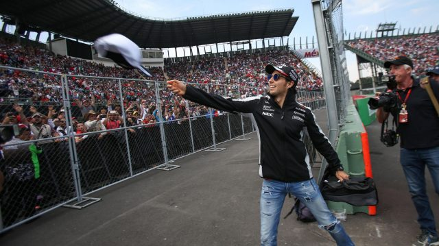 Sergio Perez (MEX) Force India throws hats into the crowd on the drivers parade at Formula One World Championship, Rd19, Mexican Grand Prix, Race, Circuit Hermanos Rodriguez, Mexico City, Mexico, Sunday 30 October 2016. &copy&#x3b; Sutton Images