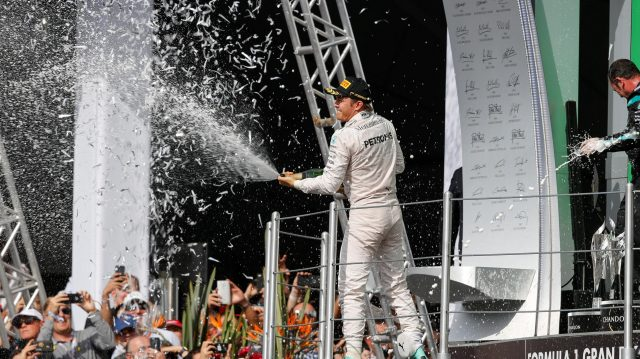 Nico Rosberg (GER) Mercedes AMG F1 celebrates on the podium with the champagne at Formula One World Championship, Rd19, Mexican Grand Prix, Race, Circuit Hermanos Rodriguez, Mexico City, Mexico, Sunday 30 October 2016. &copy&#x3b; Sutton Images