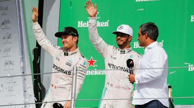 Nico Rosberg (GER) Mercedes AMG F1, race winner Lewis Hamilton (GBR) Mercedes AMG F1 and Juan Pablo Montoya (COL) celebrate on the podium at Formula One World Championship, Rd19, Mexican Grand Prix, Race, Circuit Hermanos Rodriguez, Mexico City, Mexico, Sunday 30 October 2016. &copy&#x3b; Sutton Images