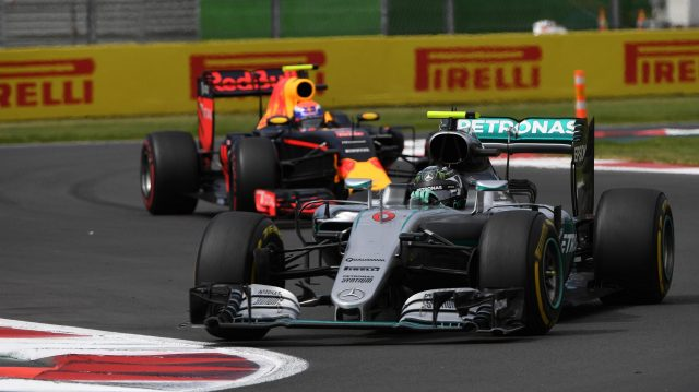 Nico Rosberg (GER) Mercedes-Benz F1 W07 Hybrid leads Max Verstappen (NED) Red Bull Racing RB12 at Formula One World Championship, Rd19, Mexican Grand Prix, Race, Circuit Hermanos Rodriguez, Mexico City, Mexico, Sunday 30 October 2016. &copy&#x3b; Sutton Images