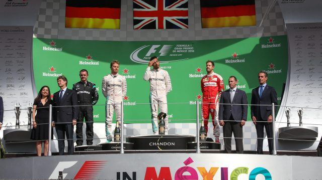 Nico Rosberg (GER) Mercedes AMG F1, Tom Walton (GBR) Mercedes AMG F1 Engineer, Lewis Hamilton (GBR) Mercedes AMG F1 and Sebastian Vettel (GER) Ferrari celebrate on the podium at Formula One World Championship, Rd19, Mexican Grand Prix, Race, Circuit Hermanos Rodriguez, Mexico City, Mexico, Sunday 30 October 2016. &copy&#x3b; Sutton Images