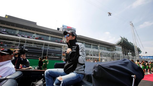 Sergio Perez (MEX) Force India on the drivers parade at Formula One World Championship, Rd19, Mexican Grand Prix, Race, Circuit Hermanos Rodriguez, Mexico City, Mexico, Sunday 30 October 2016. &copy&#x3b; Sutton Images