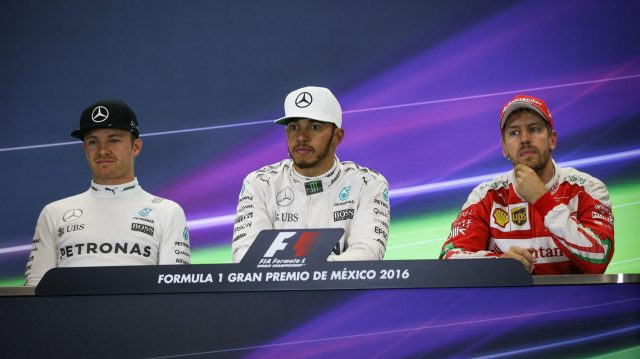 (L to R): Nico Rosberg (GER) Mercedes AMG F1, Lewis Hamilton (GBR) Mercedes AMG F1 and Sebastian Vettel (GER) Ferrari in the Press Conference at Formula One World Championship, Rd19, Mexican Grand Prix, Race, Circuit Hermanos Rodriguez, Mexico City, Mexico, Sunday 30 October 2016. &copy&#x3b; Sutton Images