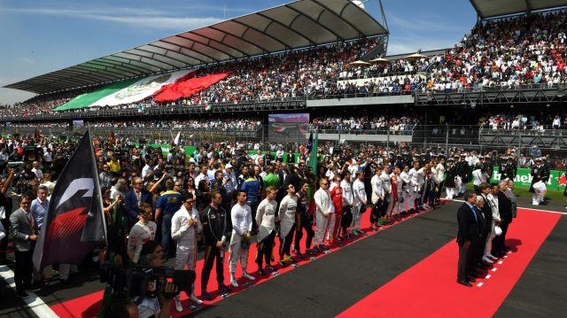 Drivers observe the Mexican National Anthem on the grid at Formula One World Championship, Rd19, Mexican Grand Prix, Race, Circuit Hermanos Rodriguez, Mexico City, Mexico, Sunday 30 October 2016. &copy&#x3b; Sutton Images