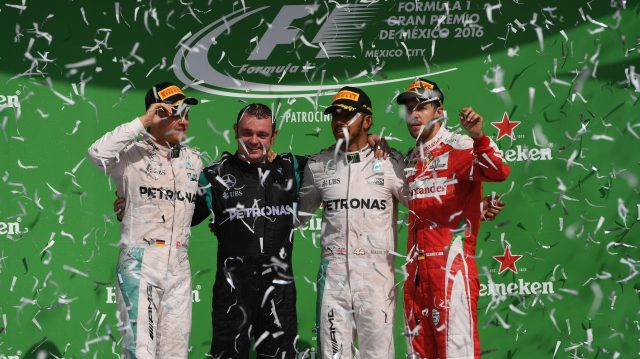 (L to R): Nico Rosberg (GER) Mercedes AMG F1,Tom Walton (GBR) Mercedes AMG F1 Engineer, Lewis Hamilton (GBR) Mercedes AMG F1 and Sebastian Vettel (GER) Ferrari celebrate on the podium at Formula One World Championship, Rd19, Mexican Grand Prix, Race, Circuit Hermanos Rodriguez, Mexico City, Mexico, Sunday 30 October 2016. &copy&#x3b; Sutton Images
