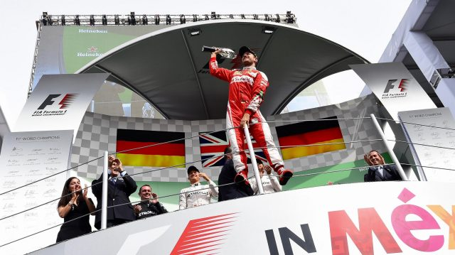 Sebastian Vettel (GER) Ferrari celebrates on the podium with the trophy at Formula One World Championship, Rd19, Mexican Grand Prix, Race, Circuit Hermanos Rodriguez, Mexico City, Mexico, Sunday 30 October 2016. &copy&#x3b; Sutton Images