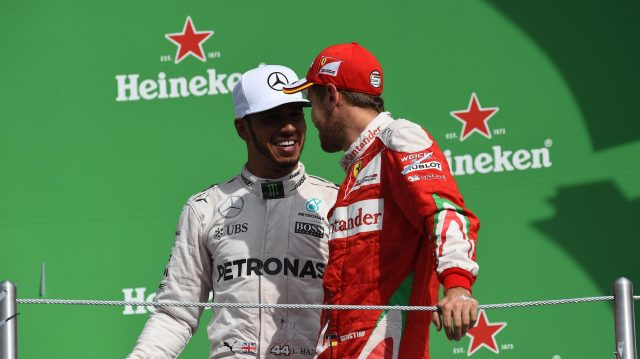 Lewis Hamilton (GBR) Mercedes AMG F1 and Sebastian Vettel (GER) Ferrari celebrate on the podium at Formula One World Championship, Rd19, Mexican Grand Prix, Race, Circuit Hermanos Rodriguez, Mexico City, Mexico, Sunday 30 October 2016. &copy&#x3b; Sutton Images