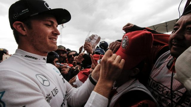 Nico Rosberg (GER) Mercedes AMG F1 celebrates and signs autographs at Formula One World Championship, Rd19, Mexican Grand Prix, Race, Circuit Hermanos Rodriguez, Mexico City, Mexico, Sunday 30 October 2016. &copy&#x3b; Sutton Images