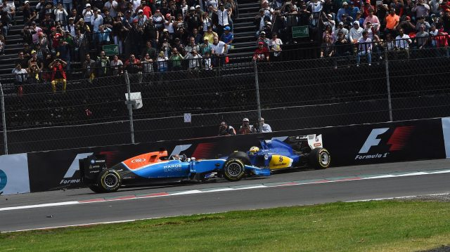 Pascal Wehrlein (GER) Manor Racing MRT05 and Marcus Ericsson (SWE) Sauber C35 crash on lap one at Formula One World Championship, Rd19, Mexican Grand Prix, Race, Circuit Hermanos Rodriguez, Mexico City, Mexico, Sunday 30 October 2016. &copy&#x3b; Sutton Images