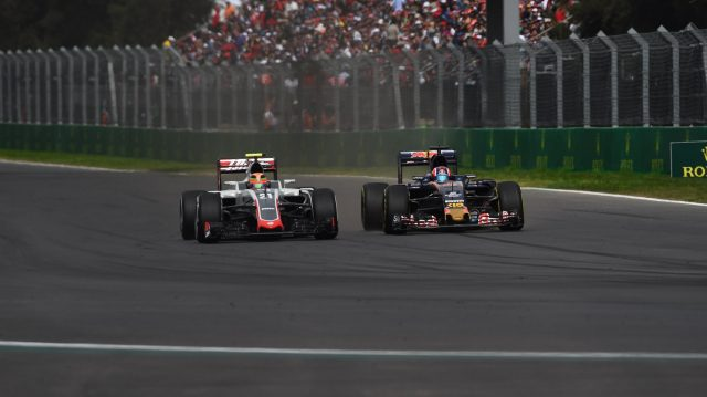 Esteban Gutierrez (MEX) Haas VF-16 and Daniil Kvyat (RUS) Scuderia Toro Rosso STR11 battle for position at Formula One World Championship, Rd19, Mexican Grand Prix, Race, Circuit Hermanos Rodriguez, Mexico City, Mexico, Sunday 30 October 2016. &copy&#x3b; Sutton Images