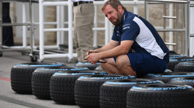 Williams mechanic and Pirelli tyres at Formula One World Championship, Rd18, United States Grand Prix, Preparations, Circuit of the Americas, Austin, Texas, USA, Thursday 20 October 2016. &copy&#x3b; Sutton Images
