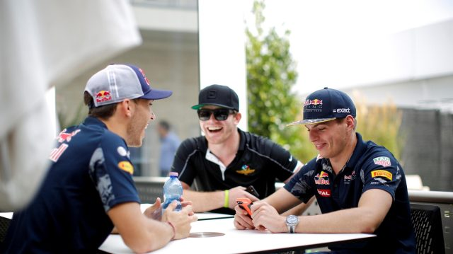 Pierre Gasly (FRA) Red Bull Racing Test Driver, Connor Daly (USA) and Max Verstappen (NED) Red Bull Racing at Formula One World Championship, Rd18, United States Grand Prix, Preparations, Circuit of the Americas, Austin, Texas, USA, Thursday 20 October 2016. &copy&#x3b; Sutton Images
