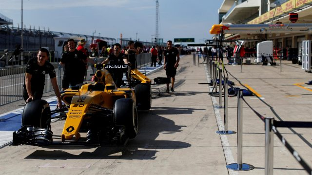 Renault Sport F1 Team RS16 in pit lane at Formula One World Championship, Rd18, United States Grand Prix, Preparations, Circuit of the Americas, Austin, Texas, USA, Thursday 20 October 2016. &copy&#x3b; Sutton Images